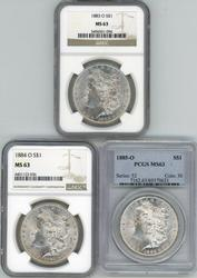 Choice BU 'O' Mint Morgan Dollars from 1883, 84, & 85.