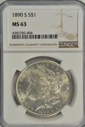 Flashy BU 1890-S Morgan Silver Dollar. NGC MS63