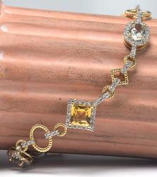 Geometric Diamond, Citrine, and Crystal Bracelet