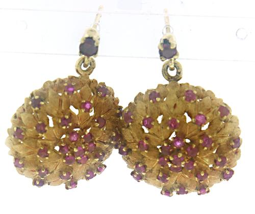 Vintage Ruby Leaf Earrings