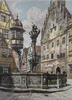 St. George Fountain Signed Mixed Media