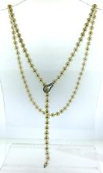 Classic White Pearl Lariat Necklace