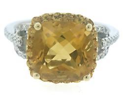 Lovely Citrine and Diamond Ring