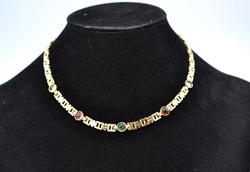 Pretty 14KT Gold Gemstone Necklace