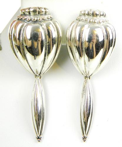 Signed Sterling Silver Long Earrings
