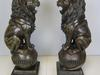 Pair of Sitting Lions On Ball Bronze Statue