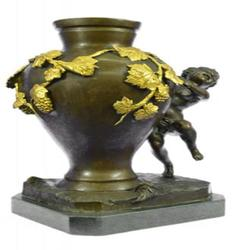 Vase Nude Boy Bronze Sculpture
