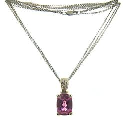 Pink CZ Pendant on Triple Strand Chain Necklace