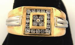 0.40CTW Mens Two-Tone Diamond Ring