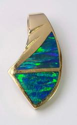 Gorgeous Blue Opal Inlay Pendant in Gold