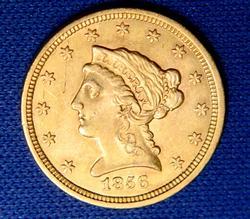 Nice Date 1856 $2 1/2 Gold Quarter Eagle, Circ
