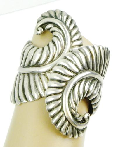 Early Taxco 3 Inch Wide Sterling Hinged Cuff