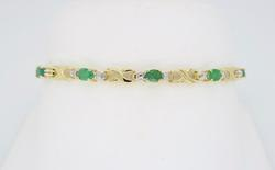 Emerald Tennis Bracelet in 14K Gold