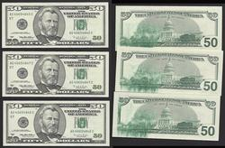3 Consec $50 1996 Large Ink/Solvent smear Unc