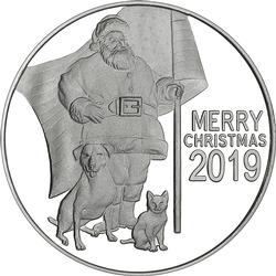 2019 1oz Patriotic Santa Claus Christmas Silver Round