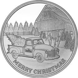 2019 1oz Farm Truck Christmas Silver Round