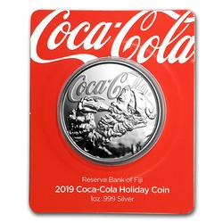 2019 Proof 1oz Silver Coca-Cola Santa Holiday Coin