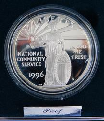 1996 Community Service Proof Silver Coin w/COA