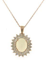Elegant Opal & Diamond Double halo Necklace