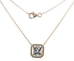 Stylish Rose Gold Aquamarine and Diamond Necklace
