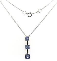 Beautiful Tanzanite 3 Stone Necklace