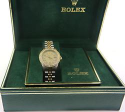 Ladies Rolex Datejust TT w Diamond Bezel Watch