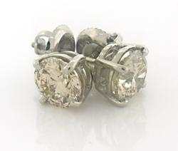 Dazzling 2cts Round Cut Diamond Stud Earrings