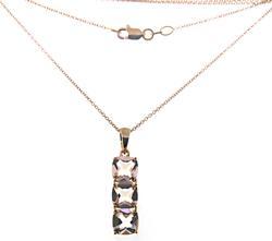 Fancy Triple Morganite Drop Pendant Necklace