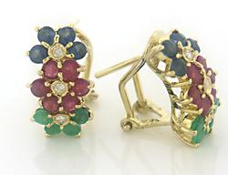 Pretty Ruby, Sapphire, Emerald and Diamond Earrings