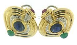 Elegant Ruby, Blue Sapphire, Emerald & Diamond Earrings