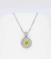 Irradiated Yellow Diamond Halo Necklace
