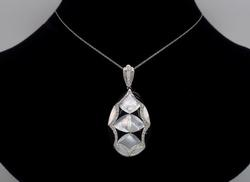 Mother of Pearl, Onyx and Diamond Necklace