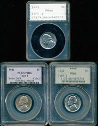 3 1942 Gem Proof TYPE 1 Jefferson Nickels. PCGS PR66