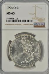 Gem BU 1904-O Morgan Silver Dollar. NGC MS65