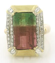 Exciting Emerald Cut Watermelon Tourmaline Diamond Ring