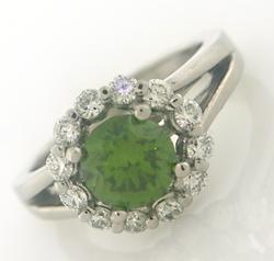 Fantastic White Gold Green Diamond ring
