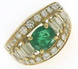 Fancy 18kt Emerald and Diamond Ring