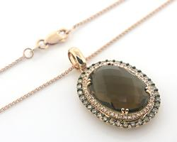 Pleasing Rose Gold Smokey Quartz & Diamond Necklace