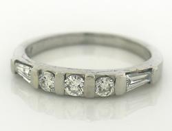 Platinum Baguette & RBC Bar Channel Set Diamond Ring