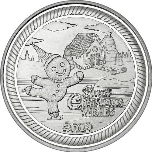 2019 1oz Gingerbread Man Christmas Silver Round