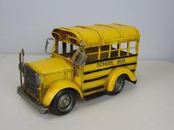 Metal School Bus Sculpture