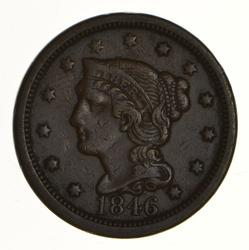 1846 Braided Hair Large Cent - N-13 Rarity 3+ Tall Date - Circulated