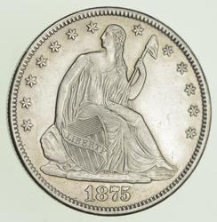 1875-CC Seated Liberty Silver Half Dollar - Near Uncirculated