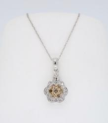 Colored Diamond Flower Pendant Necklace