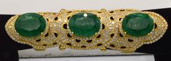One of a kind 18KT Gold Emerald Extender Ring