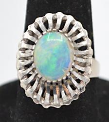 Palladium & Opal Ring