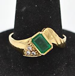 14kt Gold Emerald & Diamond Ring