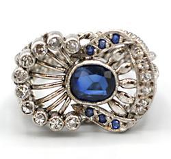 Palladium, Sapphire, & Diamond Ring