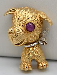 14kt Gold Dog Pin
