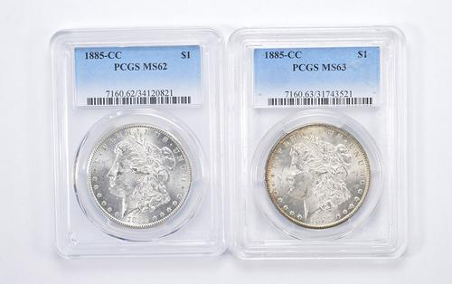 Lot (2) MS62 & MS63 1885-CC Morgan Silver Dollars - Graded by PCGS